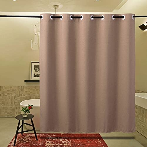 XCBN Thickened Waterproof Shower Curtain Linen Bathroom Mold-Proof Non-Porous Curtain Plain Shower Curtain A2 90x180cm