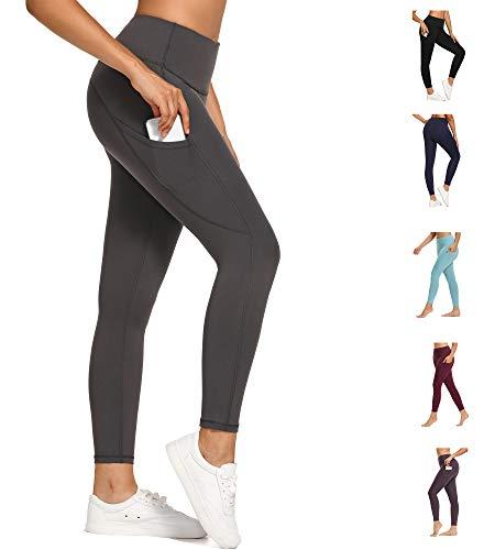 WOWENY Legging Femme, Pantalon de Yoga Pants avec Poches, Taille Haute Slim Push Up Butt Lifter Pants Yoga pour Fitness Exercices Gym Jogging Pilates