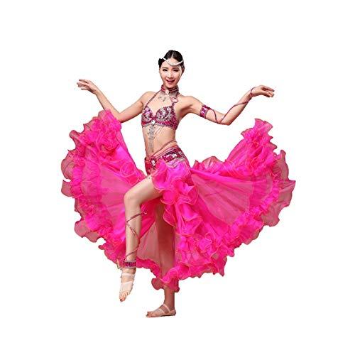 Bauchtanz Kostüm Kleid BH Gürtel Rock Tanzen Flamenco Röcke Kleider Frauen Kleidung Zigeuner Langarm Tops BH Bund Maxi Rock Anzug Sexy Bauch Kleidung Kleid (Farbe : Rose red, Size : Small)