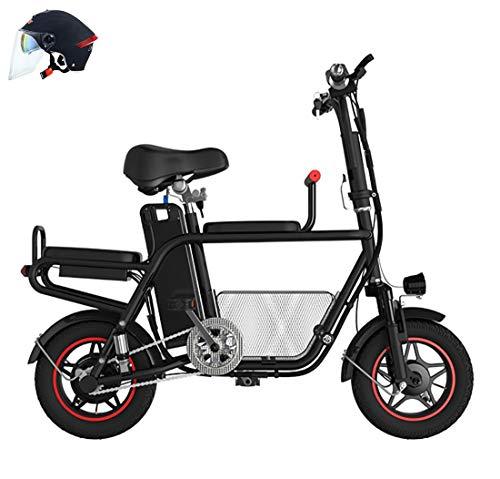 Elektroroller Elektrofahrrad Faltrad Motorrad Motorrad Vorratskorb Eltern-Kind-Auto Zweisitzige Armlehne Erwachsene kleine Reise weibliche Batterie abnehmbar 45km10A400W (Helm senden) Scooter