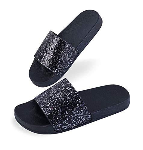Damen Mädchen Sommer Sandalen Slipper Anti-Rutsch Mode Glitzer Flip Flops Casual Strand Sandale (39 EU, Schwarz)