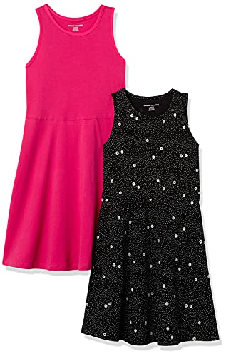 Amazon Essentials Girl's 2-Pack Tank Dress, Floral/Raspberry, Large