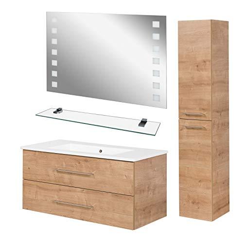 Fackelmann lichte badkamermeubelset B.Perfekt 4-delig Met wastafelonderkast incl. keramische wastafel hangend 100 cm & LED-badkamerspiegel