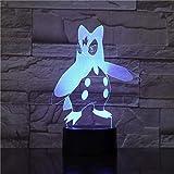 Lampe Illusion 3D LED veilleuse Pokemon capteur tactile décoratif pingouin Prinplup lampe de Table chambre meilleur anniversaire vacances cadeaux pour enfants