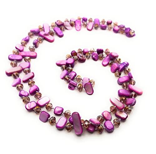 BRANDELIA Collares Largos de Colores Mujer Bisutería de Nácar y Perlas de Cristal, Malva