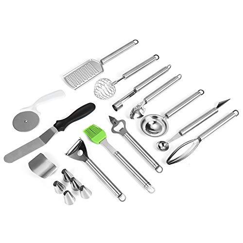 Juego de utensilios de cocina de 18 piezas de utensilios de cocina de acero inoxidable antiadherente gel de sílice kit de herramientas de cocina utensilios de cocina herramientas de cocina