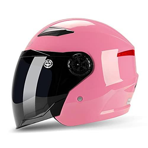 YAYT Casco de Moto Retro con protección Solar y anticolisión, ABS Color sólido/Multicolor Opcional, con Gafas 3/4 Universal Medio Casco de ciclomotor Cuatro Estaciones Certificación Dot/ECE (56-62cm)