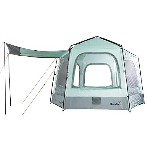 Skandika Hauszelt Kardis für 4 Personen | Hexagon Zelt mit eingenähtem Zeltboden, wasserdicht, 4000mm Wassersäule, Leichter Aufbau, große Fenster und Türen, 2,4m Stehhöhe | Glampingzelt, Festivalzelt