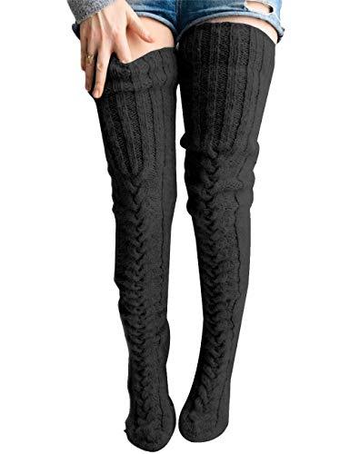 Springcmy Damen Mädchen Winter Zopfmuster Overknee Socken Oberschenkelhoch Lange Stiefel Socken Strumpf Beinwärmer, A-schwarz, One size