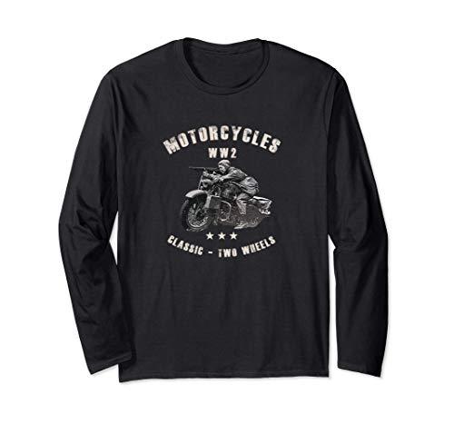 Segunda Guerra Mundial WW2 clásico de la motocicleta Manga Larga