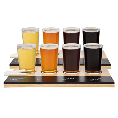Beer Tasting Flight Sampler Set (2 Pack) Eight 6oz Pilsner Craft Brew Glasses With 2 Wooden Paddles and 2 Chalkboards - Great Gift
