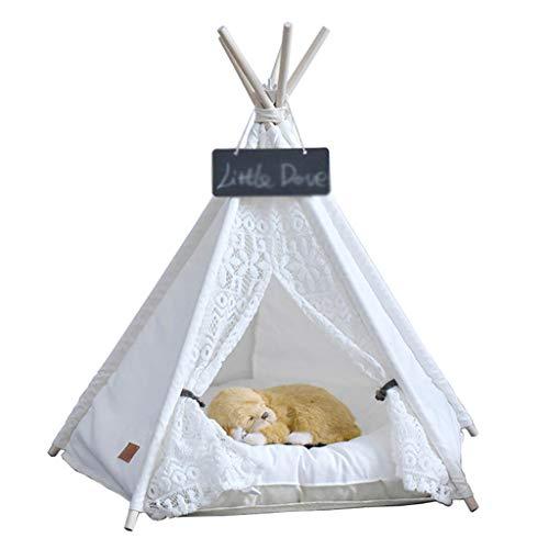 Tipi Zelt für Haustiere, Baumwolle Leinwand Haustiere Tipi, Haustier-Tipi-Hund mit Matraze, für Hund Katzen und Haustier (S, Weiß)