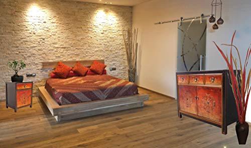 OPIUM OUTLET Chinesische Möbel Kombination Fire Shabby Chic Vintage Sideboard Kommode Hochzeitsschrank Nachtkästchen (Fire-3)