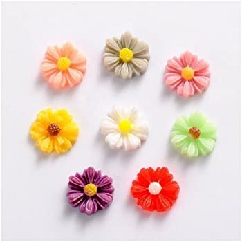 Charming Beads Packet of 25 x Cream Resin 8 x 13mm Flower-Shaped Flat-Backed Cabochon Y04570