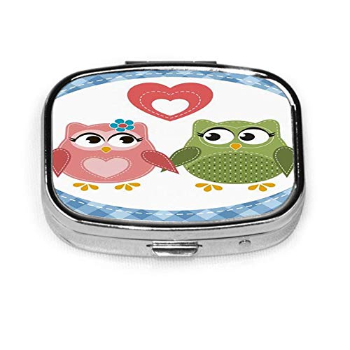 Two Cute Owls in Love Mens Pocket Pill Box Pill Box Tablet Holder Wallet Organizer Case for Pocket Or Purse