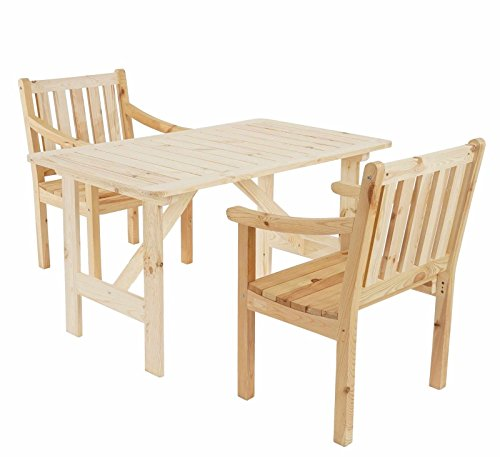 SSITG Jardín Juego de Copenhague II, mesa silla, madera Calidad Gastro, natural