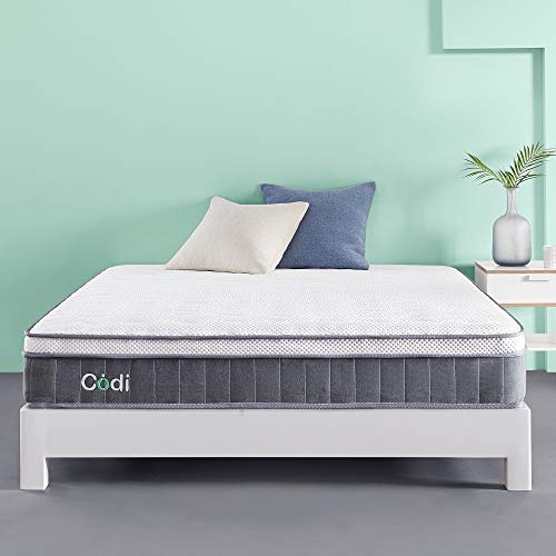 Codi Signature 10 Inch Hybrid Memory Foam Mattress Twin Size | Cooling Gel Top with Zoned Individual Pocketed Coil Bottom | CertiPUR-US Certified