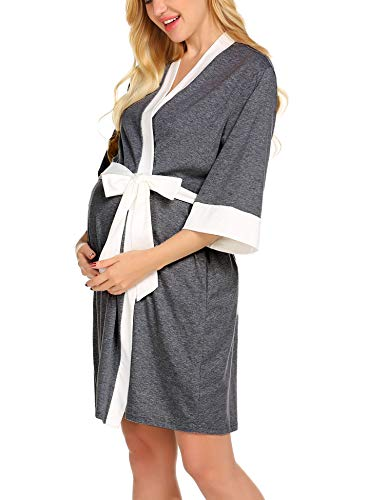 Ekouaer Breastfeeding Dress Nursing Gown Delivery Sleepwear (Grey Large)