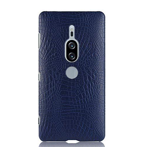 Para Sony Xperia XZ2 Premium capa de couro sintético com estampa de crocodilo (Azul)