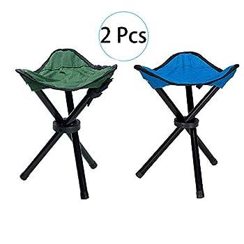 Tabouret Trépied Pliant Slacker Chair 2 Pcs, Tabouret De Trépied en Plein Air Compact Tabouret De Loisirs Pliant, 3-Leg Stool Siège Tabouret Camping Portable, Tabouret Extérieur Pliable