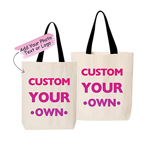 Custom Canvas Tote Bag - Add Your Photo Text or Logo - Personalized Tote Bag