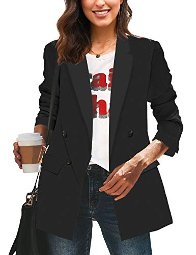 Vetinee Women's Black Casual Long Sleeve Blazer Suit Lapel Pockets Buttons Double Breasted Work Office Jacket Size Medium