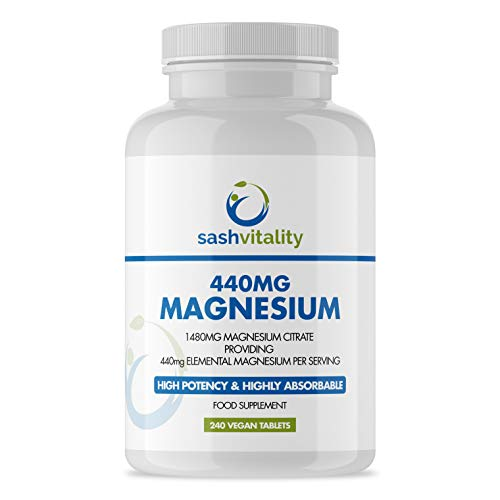 Magnesium Citrate 1480mg - 240 High Strength Vegan Tablets (4 Months Supply) – Magnesium Supporting Restless Leg Syndrome Relief (RLS) & Leg Cramps - 440mg Elemental Magnesium Per Serving – UK Made