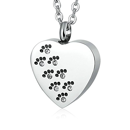 Daesar Collares Acero Inoxidable Hombre Corazón Hueso de Perro Collar de Ceniza Se Puede Grabar...