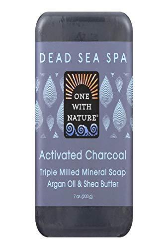 One With Nature - Pétrole d'argan de savon de charbon actif et beurre minéraux de bassie fraisés par triple - 7 oz.