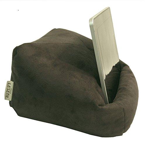 LESEfit Soft antirutsch Tablet Halterung für Bett & Couch kompatibel mit iPad, Lesekissen für Buch & e-Reader (multifunktionale Quader-Form) Wildleder-Imitat anthrazit schwarz