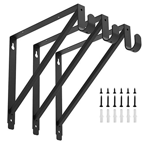 Heavy Duty Closet Rod Shelf Brackets Clothes Hanger Pole Support Bracket Black 3 Pack