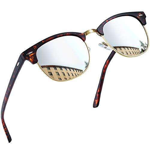 Joopin Occhiali da Sole Uomo Donna Polarizzati Vintage Bordo in Corno Mezza Montatura Classico Occhiali da Sole Unisex (Cornice di Leopardo Lente Argento)