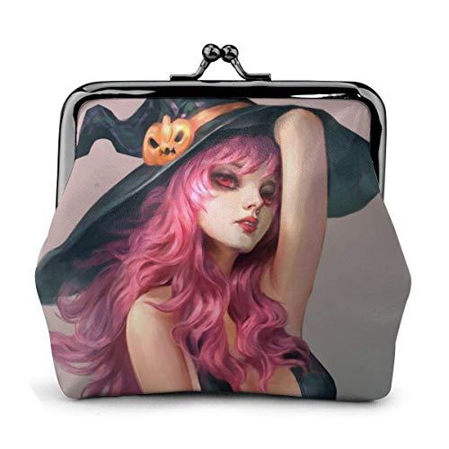 Sexy Halloween Witch Art Pink Hair Vintage Pouch Girl Kiss-Lock Change Monedero Carteras Hebilla Monederos de Cuero Clave