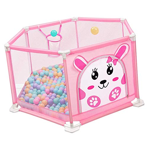 Pink Baby Fence Baby Playpen Indoor & Outdoor Play Space Portable Easy & Quick Assembly with Gate & Safety Lock Versatile Play Space Size