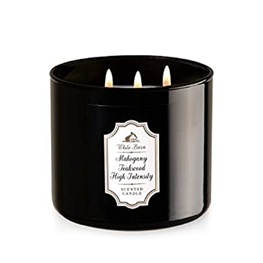 Bath and Body Works 3 Wick Candle in Mahogany Teakwood High Intensity Brown Glass With White Barn Label