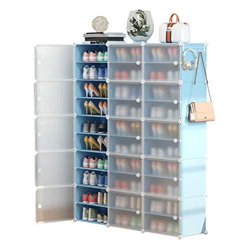 Jklt Práctico zapatero para entrada independiente, zapatero portátil, 60 pares de cajas de almacenamiento de zapatos, fácil de usar (color: azul, tamaño: 126 x 31 x 158 cm)