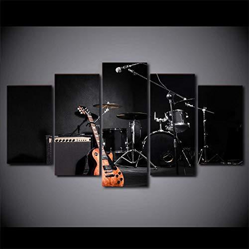 5 Paneles Decorativos Pintura Decoración Música Guitarra Instrumentos Tambor Banda Impresión artística Decoracion de Pared...