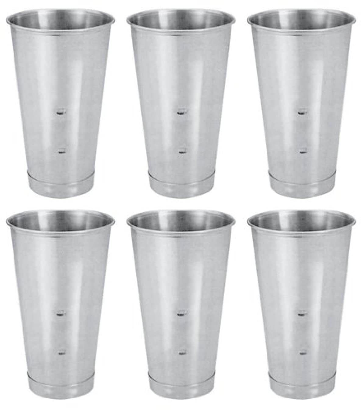 SET OF 6, 30 Oz. (Ounce) Malt Cup, Milkshake Cup, Blender Cup, Cocktail Mixing Cup, Stainless Steel, Commercial Grade