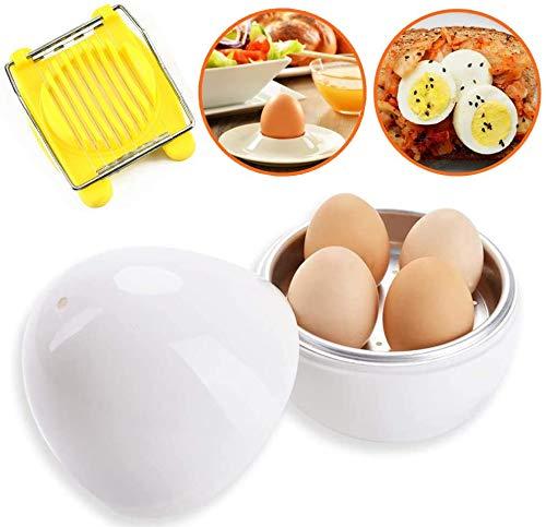 Fornello per uova a forma di uovo, forno a microonde, a vapore, 4 uova, facile da usare, strumento rapido per cuocere le uova con taglierina per utensili da cucina, lavabile in lavastoviglie (bianco)