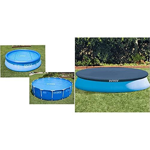 Intex Solarabdeckplane für Easy & Frame Pool Ø 366 cm, Stärke 120 Mikron, Fertigungsmaß: ca. Ø 348 cm, 29022 & Easy Set Pool Cover - Poolabdeckplane - Ø 366 cm - Für...