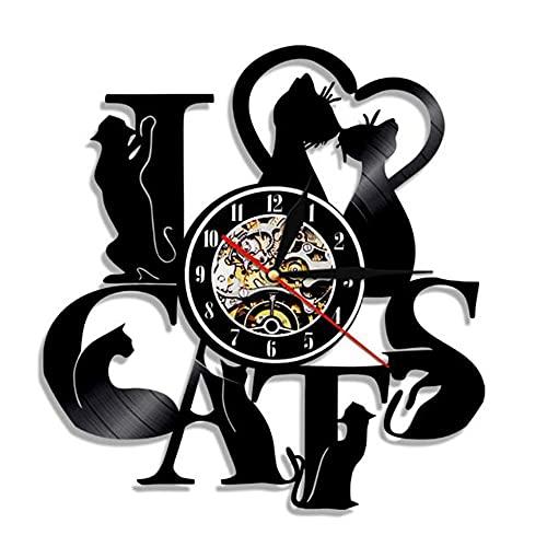 Graba de gramófono Reloj de Colgando Reloj de Pared de Vinilo Creativo Retro nostálgico Reloj de Pared Colgando Reloj led luz de Pared Reloj de Pared-No liderado