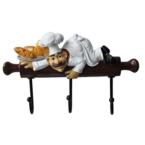 Jiji Percheros Acero Inoxidable Resina Lindo de la Historieta de Cocina Chef Figurita Puerta Deco de la Pared Ganchos for Colgar Ropa en Rack Inicio Accesorios Decoración Perchero de pie (Color : A)