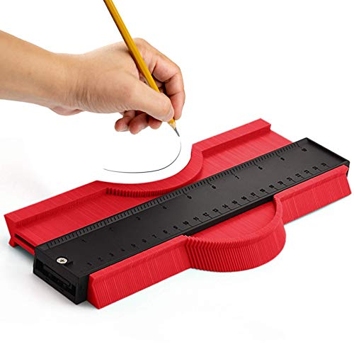 Medidor de contorno, herramienta de medición de perfiles, cuchillo de contorno, duplicador, herramientas para marcar perfiles irregulares, azulejos, laminados y madera, etc. (14 cm, rojo)