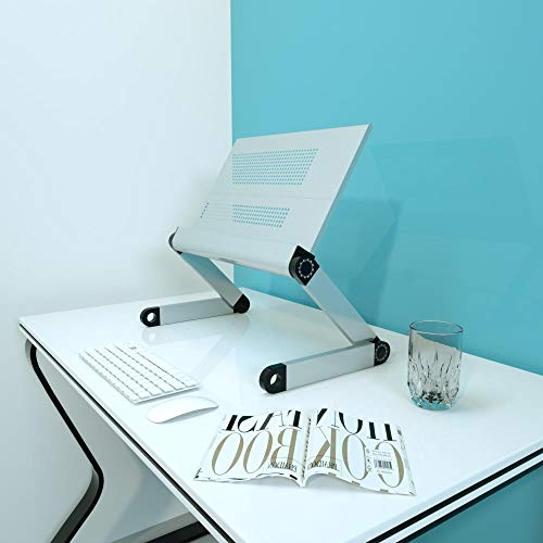 Mazu Homee Soporte para tableta de escritorio para oficina, computadora, elevador, estante vertical, mejora la base del cojín, plegable, soporte ergonómico de ángulo alto ajustable para portátil