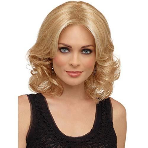 Kort blond krullend haar, 35 cm, natuurlijk levensecht haar, zijde met hoge temperatuur van chemische vezels, pruik gebruikt door vrouwen voor dagelijks gebruik en feest, feest