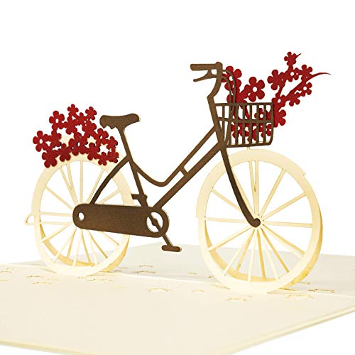 LIMAH Pop Up 3D Blumen-Fahrrad-Karte, Glückwunschkarte, Geschenkkarte, Überraschungskarte Mit Einem Damenrad Und Roten Blumen Gut Kombinierbar Mit Einem Gutschein Zum Geburtstag