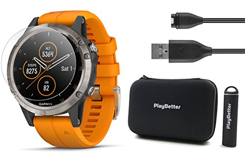 Garmin Fenix 5 Plus+ Sapphire Bundle with Screen Protectors, PlayBetter Portable Charger & Protective Case   Multisport GPS Watch, TOPO Maps, Garmin Pay, Music (Titanium with Orange Band)