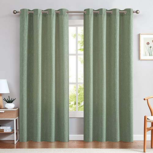 jinchan Linen Textured Sage Green Linen Look Curtains for Bedroom 84 Inches Length Window Treatments Drapes 2 Panels