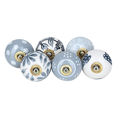 Pomelli rotondi in ceramica - set di 6 pezzi, multicolore, pomello vintage per cassetti e armadi, splendide manopole stampate e floreali per arredamento cucina e mobili, pomoli decorativi