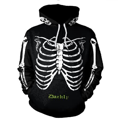 Boniyami Men Youth Hoodies Halloween skeleton Costumes 3D Printed Fashion Pullover Swe...  来自 @amazon